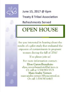 OPEN HOUSE - Contaminants Study in Pregnant Women @ Treaty 8 Tribal Association | Fort Saint John | British Columbia | Canada