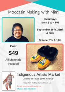 Moccasin Making with Mimi @ Indigenous Artists Markets | Fort Saint John | British Columbia | Canada