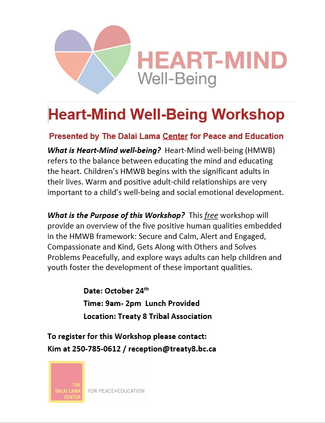 Heart-Mind Well-Being Workshop @ Treaty 8 Tribal Association | Surrey | British Columbia | Canada