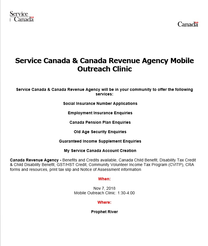 Service Canada & Canada Revenue Agency Mobile Outreach @ Prophet River First Nation