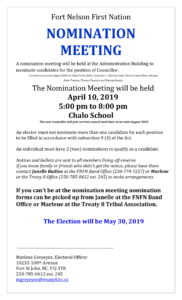 Fort Nelson First Nation Nomination Meeting @ Chalo School