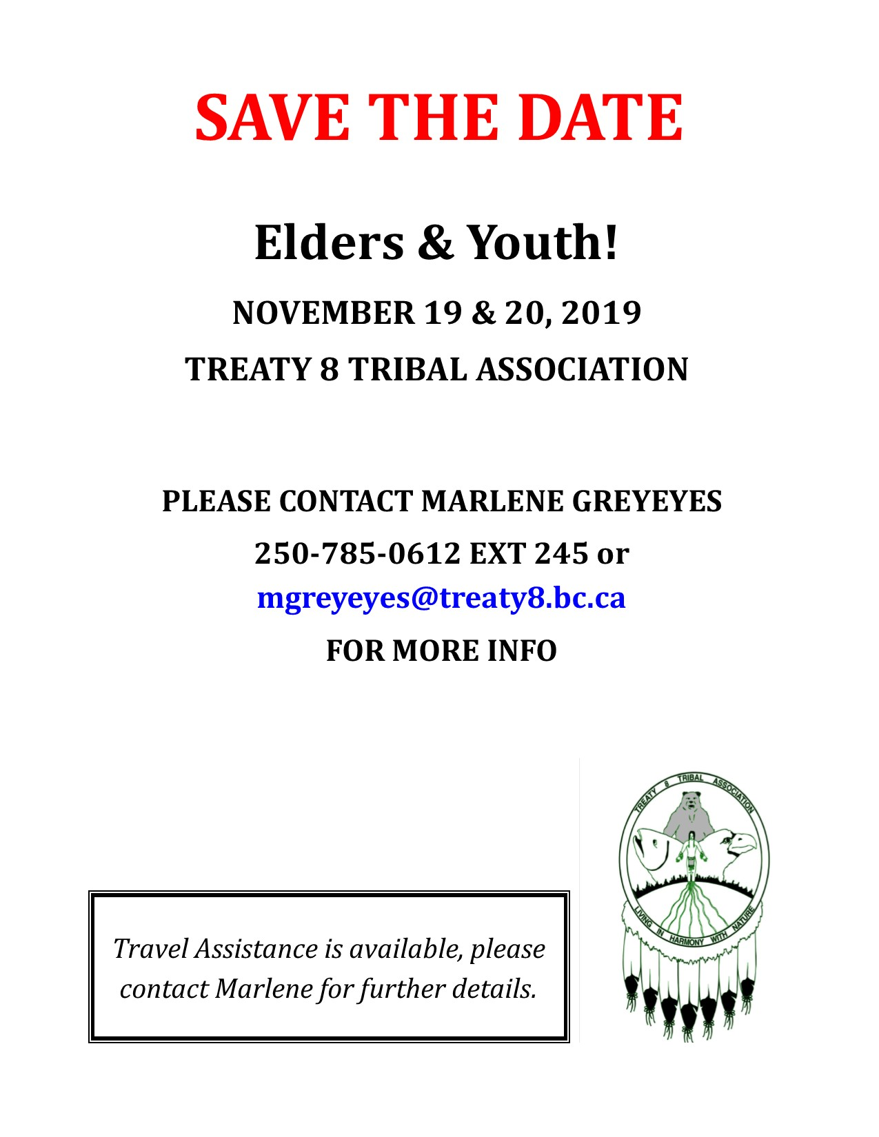 ELDERS AND YOUTH!! Save the Date @ Treaty 8 Tribal Association