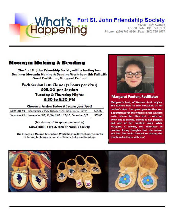 Moccasin Making and Beading @ Fort St. John Friendship Society