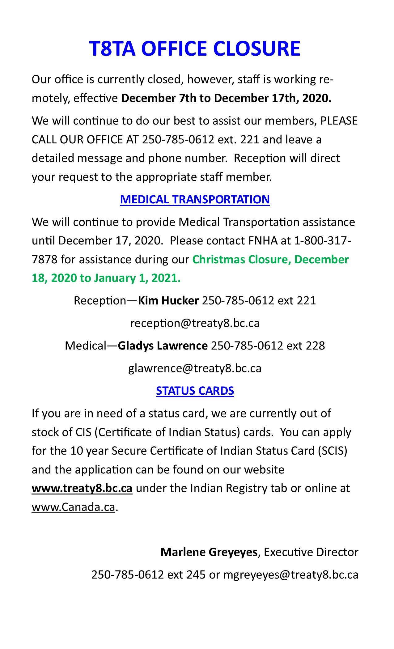 T8TA Office Closure December 2020 @ Treaty 8 Tribal Association